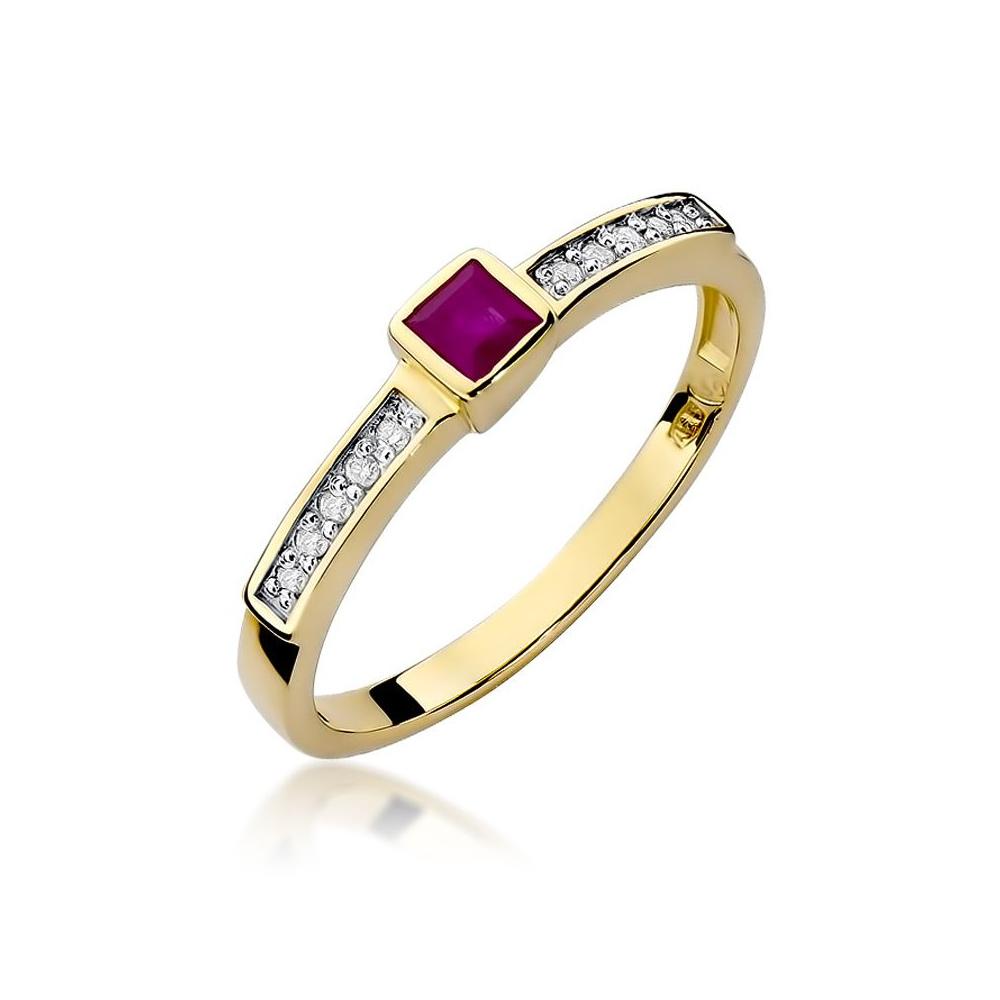 Pierścionek zaręczynowy 585 złoto z rubinem 0,20ct i brylantami