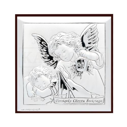Srebrny obrazek pamiątka chrztu świętego