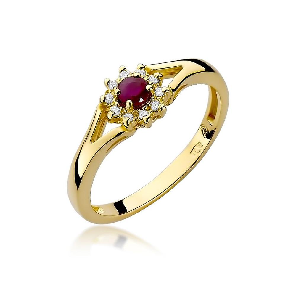 Pierścionek zaręczynowy 585 złoto z rubinem 0,15ct i brylantami