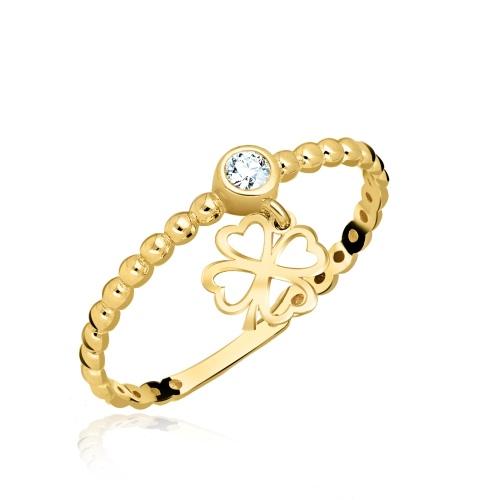 Złoty pierścionek z cyrkoniami - Wisząca koniczynka pr.585