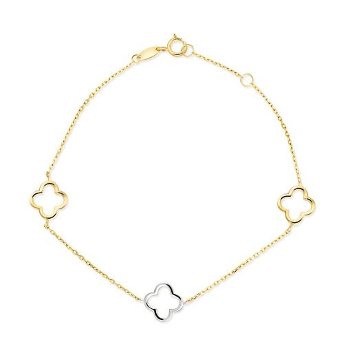 Złota bransoletka celebrytka - Kwiatki pr.585