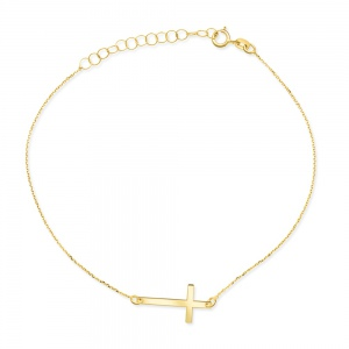 Pozłacana bransoletka celebrytka - Krzyżyk pr.925