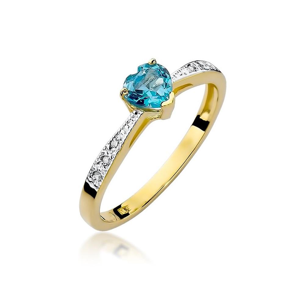 Pierścionek zaręczynowy 585 złoto z topazem 0,30ct i brylantami