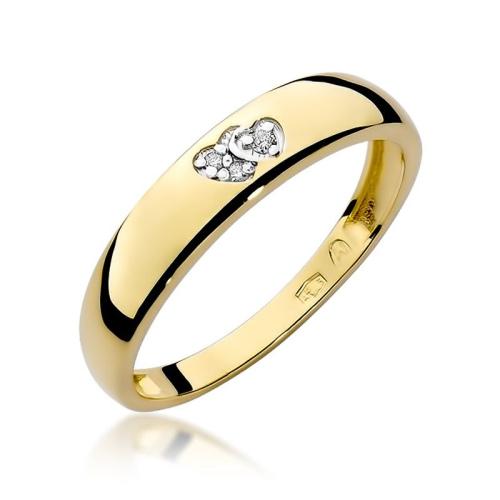 Pierścionek zaręczynowy z brylantem 0,02ct pr.585