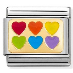Nomination -  Link 18K Gold 'Rainbow Hearts' 030263/22