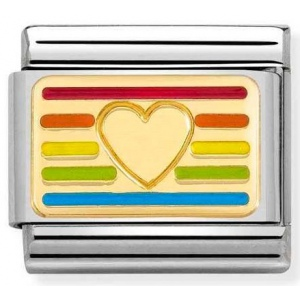Nomination -  Link 18K Gold 'Rainbow Flag Heart' 030263/24