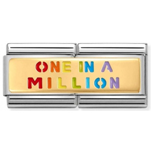 Nomination -  Double Link 18K Gold 'ONE IN A MILION Rainbow' 030720/06