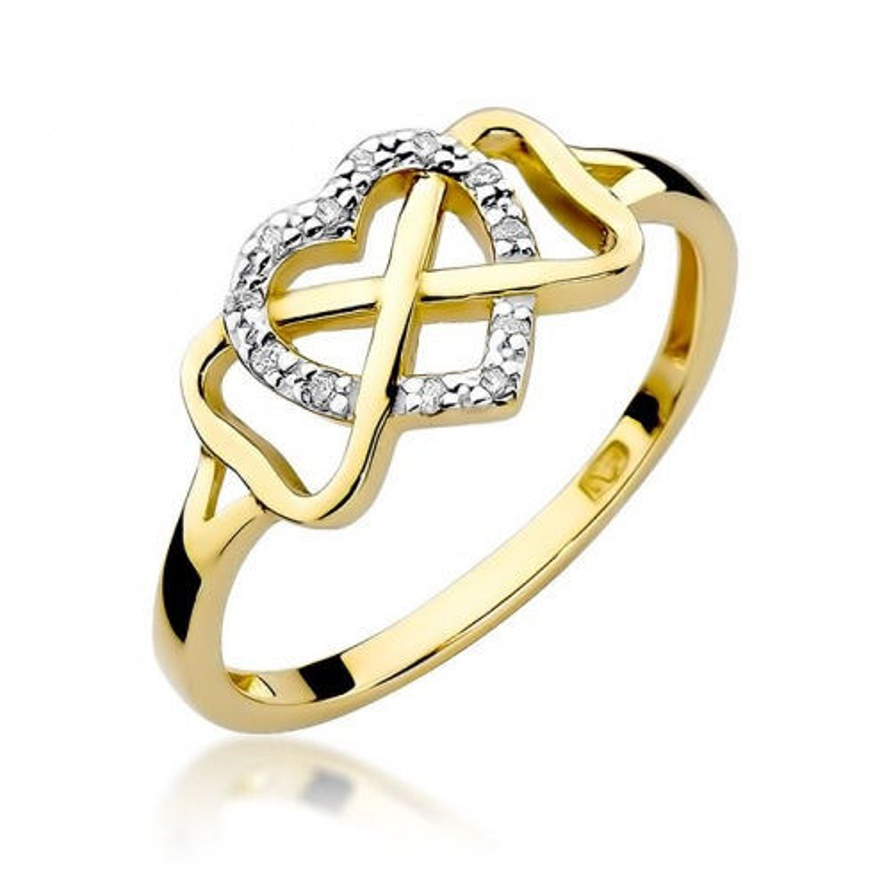 Pierścionek zaręczynowy 585 złoto z brylantem 0,06ct