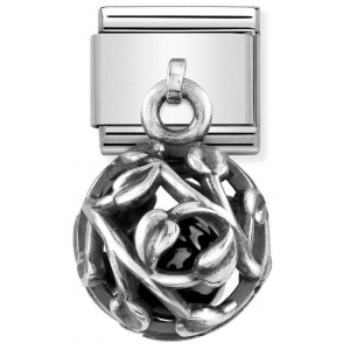 Nomination - Link 925 Silver 'Leaf with Black Agate' 331810/06