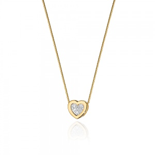 Złoty naszyjnik celebrytka z brylantami 0,07ct - Serce pr.585
