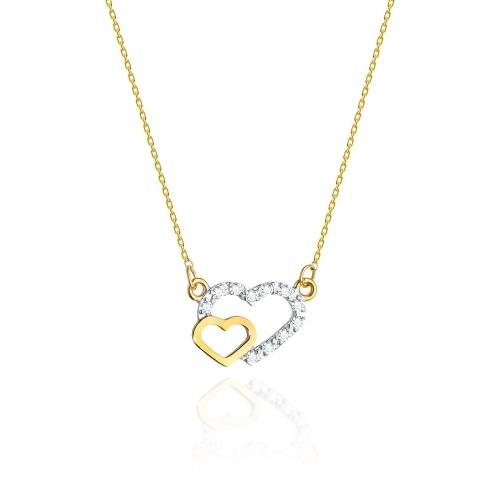 Złoty naszyjnik celebrytka z brylantami 0,06ct - Złączone serca pr.585