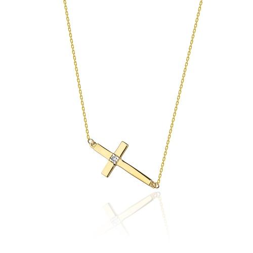 Złoty naszyjnik celebrytka z brylantami 0,005ct - Krzyżyk pr.585