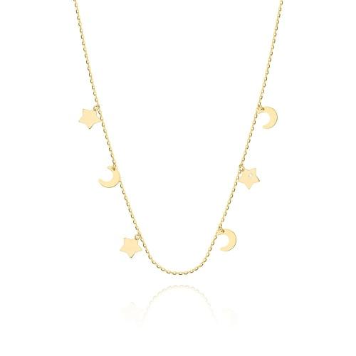 Złoty naszyjnik celebrytka z brylantami 0,005ct pr.585