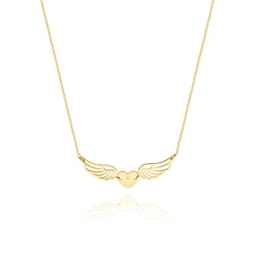 Złoty naszyjnik celebrytka z brylantami 0,005ct - Skrzydła pr.585