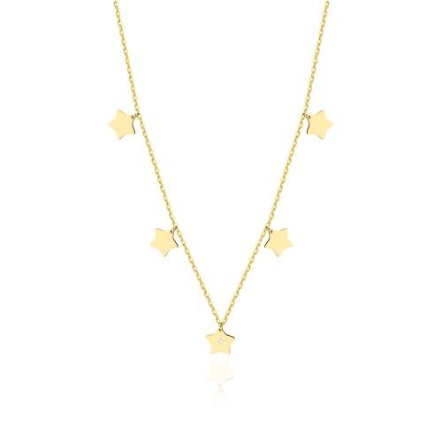 Złoty naszyjnik celebrytka z brylantami 0,005ct - Gwiazdki pr.585