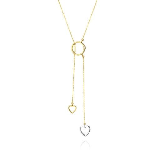 Złoty naszyjnik celebrytka z brylantami 0,0145ct pr.585