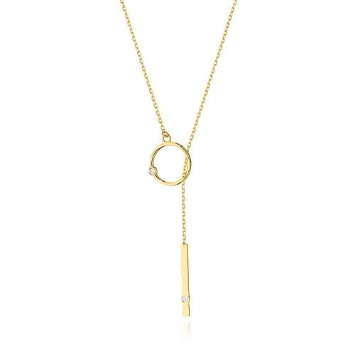 Złoty naszyjnik celebrytka z brylantami 0,0145ct - Miś pr.585