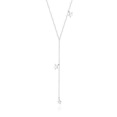 Złoty naszyjnik celebrytka z brylantem 0,01ct - Gwiazdki pr.585
