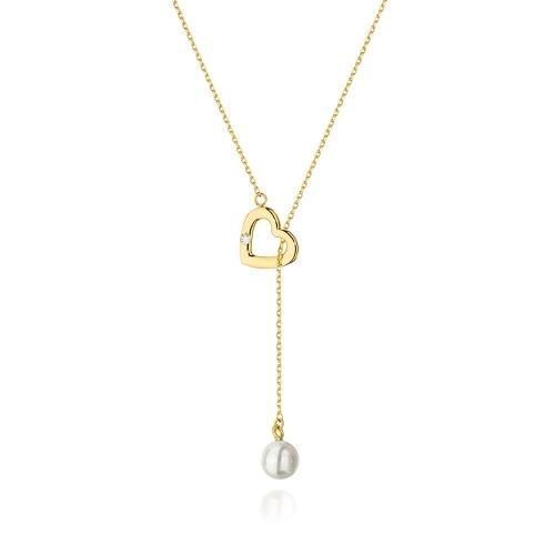 Złoty naszyjnik celebrytka z brylantami 0,01ct - Serce pr.585