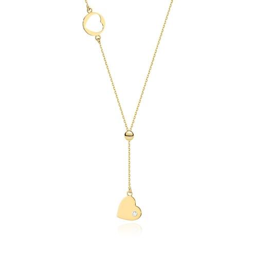 Złoty naszyjnik celebrytka z brylantem 0,0145ct pr.585