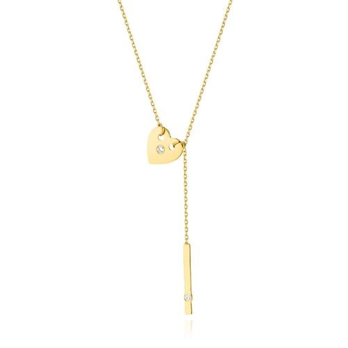 Złoty naszyjnik celebrytka z brylantem 0,03ct pr.585
