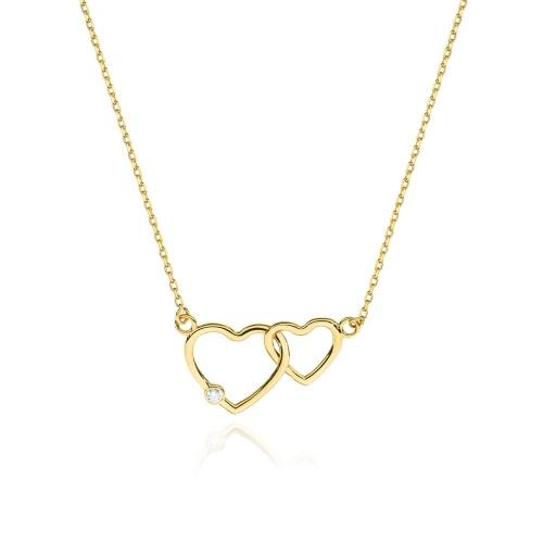 Złoty naszyjnik celebrytka z brylantami 0,0145ct - Złączone serca pr.585