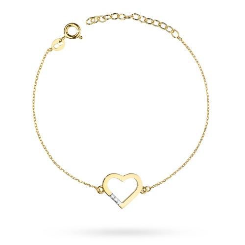 Złota bransoletka celebrytka z brylantami 0,015ct pr.585