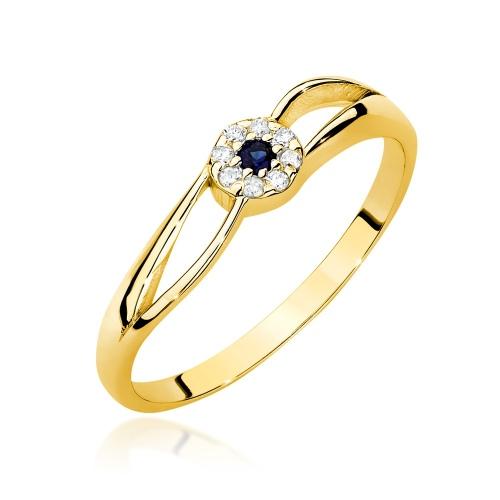 Pierścionek zaręczynowy z szafirem 0,03ct i brylantami pr.585