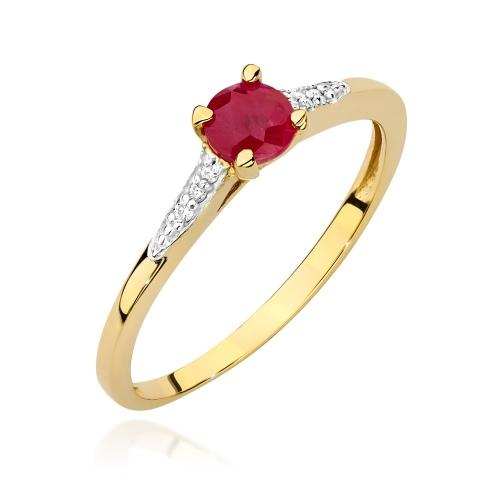 Pierścionek zaręczynowy z rubinem 0,30ct i brylantami pr.585