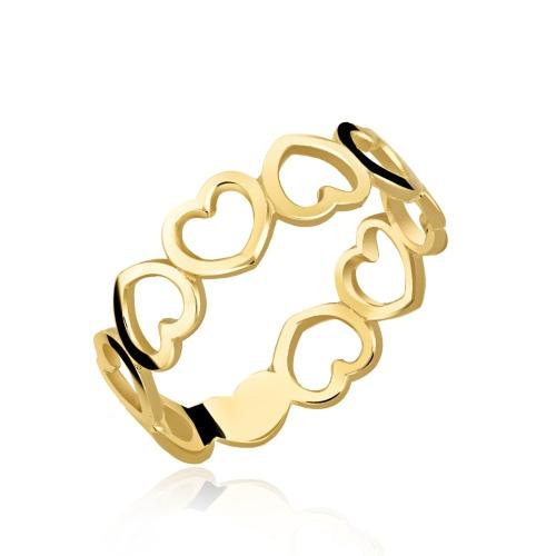Złoty pierścionek - Serduszka pr.585