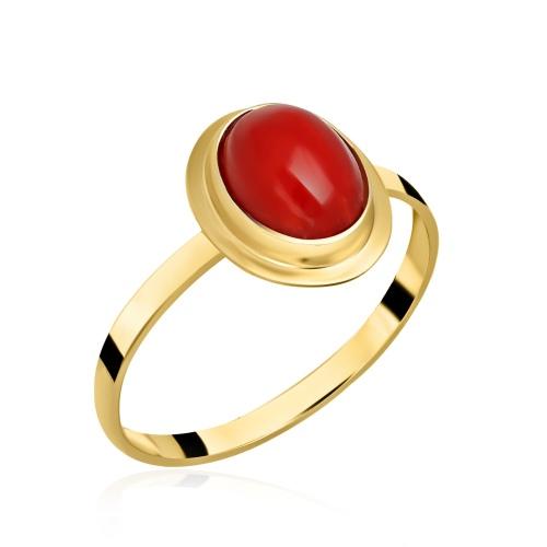 Złoty pierścionek z koralem pr.585