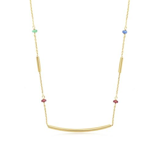 Złoty naszyjnik celebrytka - Łuk z kolorowymi kwarcami pr.585